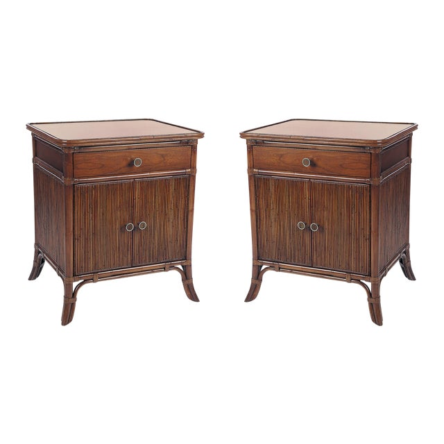 David Francis Furniture Swirl Cherry Top Nightstands- A Pair - Image 1 of 2