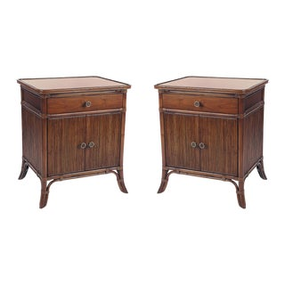 David Francis Furniture Swirl Cherry Top Nightstands- A Pair