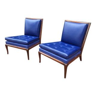 Pair of Upholstered T.H. Robsjohn-Gibbings Slipper Chairs