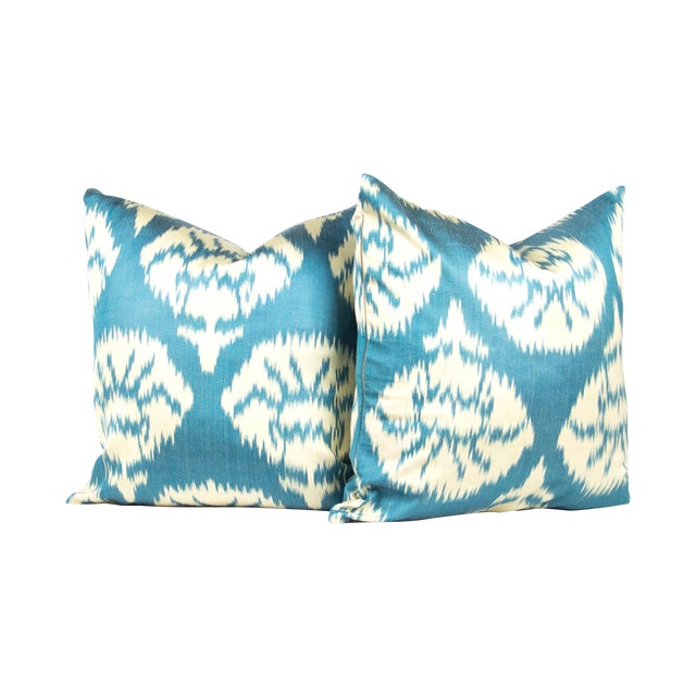 Silk Ikat Pillows in Peacock Blue - Pair - Image 1 of 3