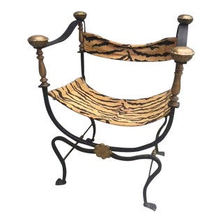 Jansen Curule Savonarola Brass and Iron Chair