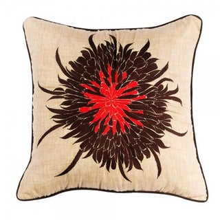 "Bloom Tan & Red Pillow - 20""x 20"""