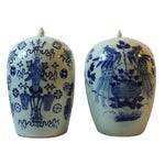 Image of Antique Porcelain Covered Jar - Pair