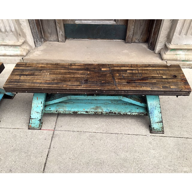 Rustic Industrial-Inspired Reclaimed Wood Bench - Image 5 of 5