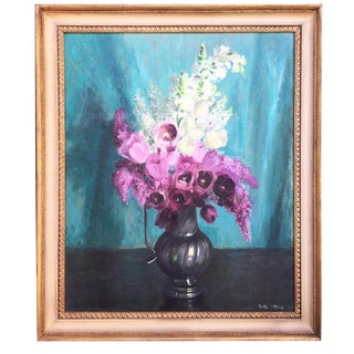 1950 Vintage Still Life of Flowers Oil Painting