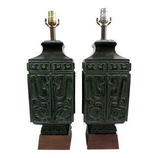 Mid-Century Chinese Archaic Style Verdigris Bronze Table Lamps- A Pair