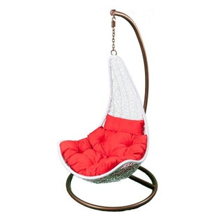 Hanging White Rattan Scoop Chair Red Cushions