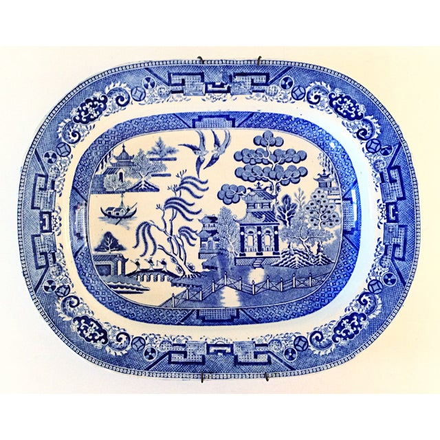 Image of English Blue Willow Chinoiserie Serving Platter