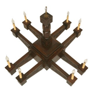 Antique Large Hand-Carved Walnut Mission/Arts & Crafts Chandelier