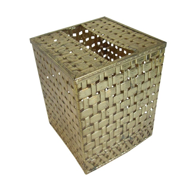 Basket-Weave Gold Tissue Box - Image 1 of 4