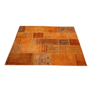 Vintage Turkish Overdyed Orange Patchwork Rug - 5′8″ × 7′11″