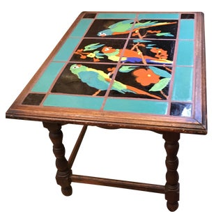 Three Parrot Tile Side Table