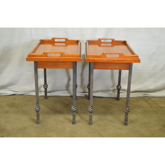 Custom Pair of Iron Base Tray Top Side Tables - Image 2 of 11