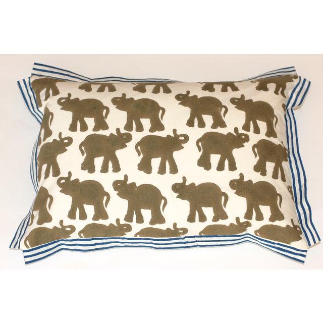 Block Printed Elephant Pillow - Image 2 of 4