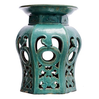 Green Ceramic Garden Stool