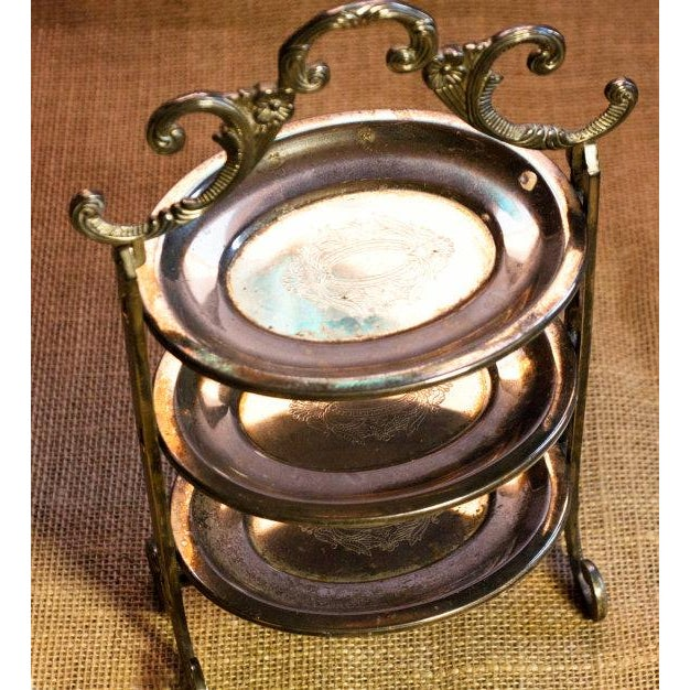 Image of Ornate Silver Plate Three Tier Trinket Tray
