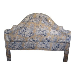 Blue Indian Safari Print Upholstered King Headboard