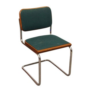 1980s Bent Steel & Green Upholstered Knoll Chairs