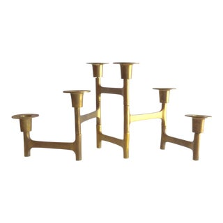 Brass Mid-Century Modern Connected Candle Holders