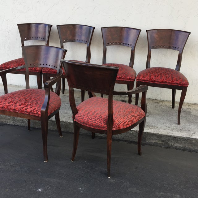 Italian Red Upholstered Wood Dining Chairs- Set of 6 - Image 8 of 10