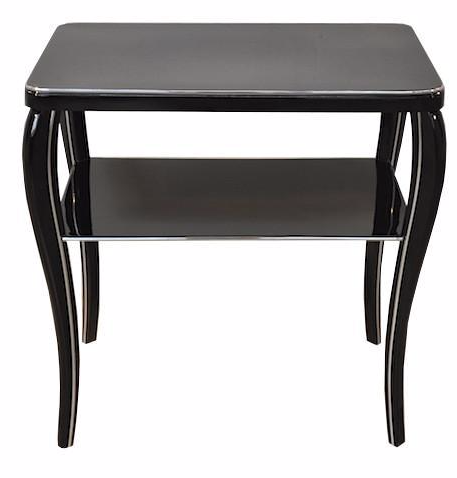 Black Lacquered French Art Deco Side Table