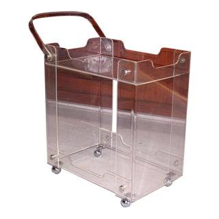 Bent Lucite Mid-Century Modern Tea Cart