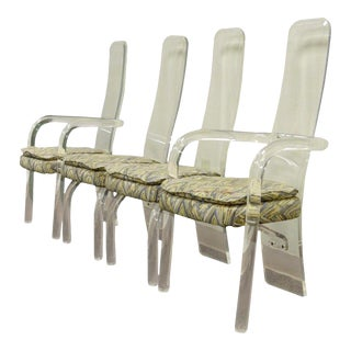 Hill Mfg Vintage Mid-Century Modern Lucite Sculptural Dining Chairs - Set of 4