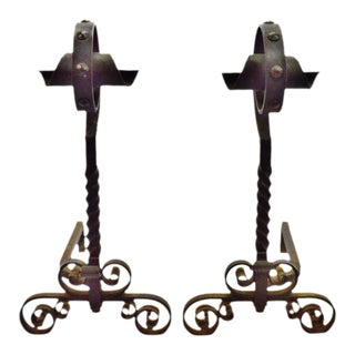 Early Wrought Iron Andirons