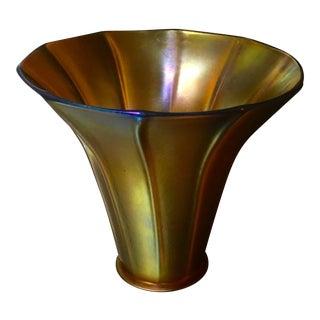 Signed Antique Aurene Quezal Art Nouveau Iridescent Glass Trumpet Shade