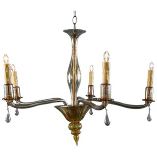 Mid-Century Modern Amber Colored Murano Glass Chandelier in the Style of Venini
