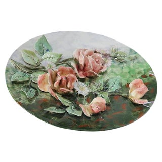 Early 20th Century French Hand-Painted Barbotine Flower Platter