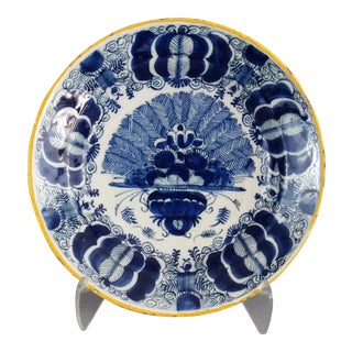 Antique Dutch Delft 'Peacock' Plate