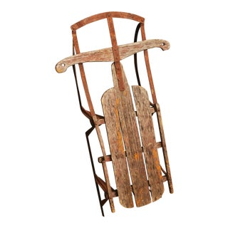 Vintage Brown Weathered Wood & Metal Runner Sled