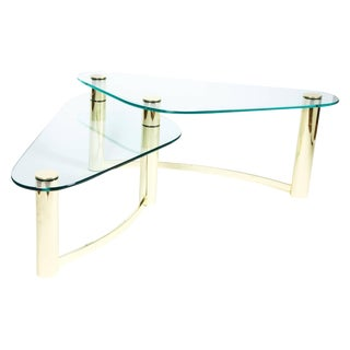 Pace Brass and Glass Cocktail Table