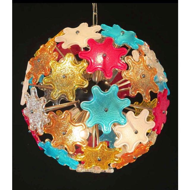 Murano Multicolored Floral Sputnik Chandelier, 1970 - Image 4 of 4