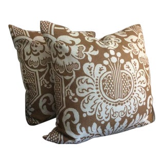 Vervain Trocadero Pillows in Walnut Brown & Grayish Ivory Damask - a Pair