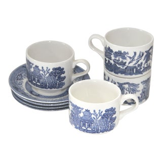 Blue Willow Churchill Transferware Cups & Saucers Set of 4