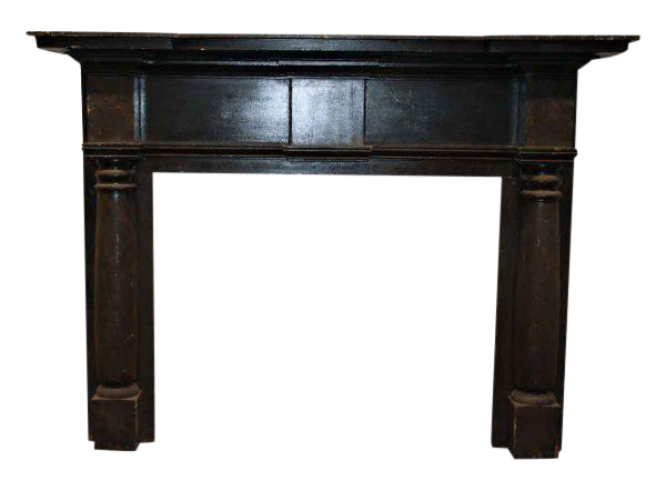 Antique American Federal Style Black Wooden Mantel