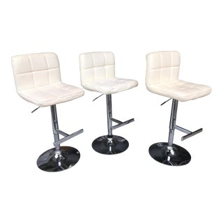 White Leather & Chrome Counter Stools - Set of 3