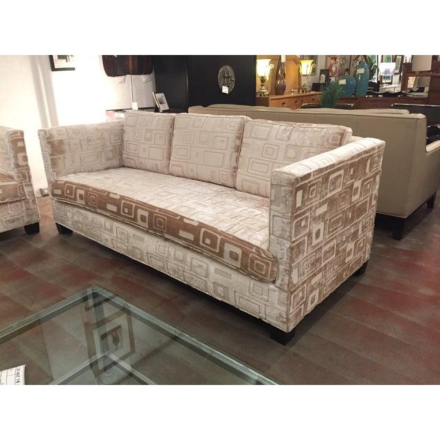 Custom Mid Century Sofa in Champagne Velvet - Image 9 of 11