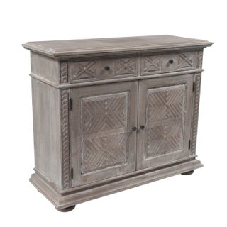 Weathered Carved Oak Chest