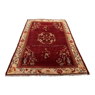 Vintage Turkish Super Fine Handwoven Oushak Rug - 6′8″ × 9′10″
