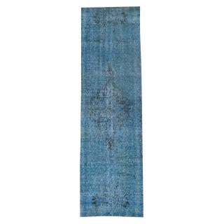 Vintage Turkish Blue Overdye Wool Runner - 2′9″ × 9′8″