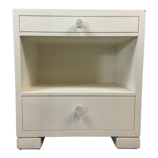 Contemporary White Painted Fiber Over Laminate End Table