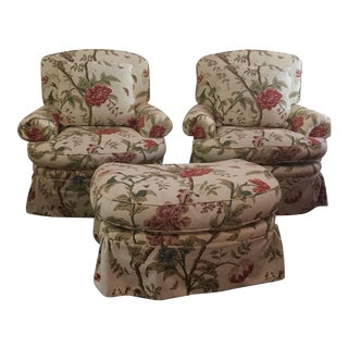 Baker Furniture Chairs and Ottoman - Set of 3