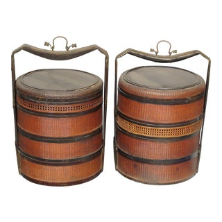 19th Century Chinese Bamboo Picnic Boxes- A Pair
