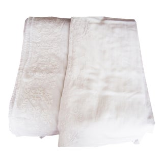 Fine Linen Embroidery Curtains - Set of 4