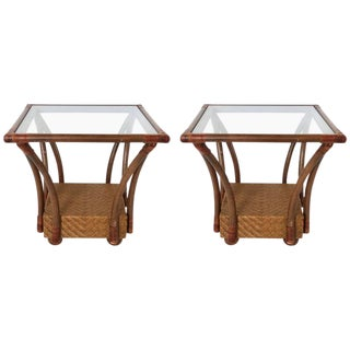 McGuire Style Square Woven Rattan & Bamboo Side Tables - A Pair