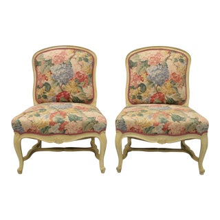 French Louis XV Style Painted Slipper Lounge Chairs - A Pair