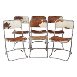 Modern Design Chrome Cattlehide Side Chairs - Set of 6